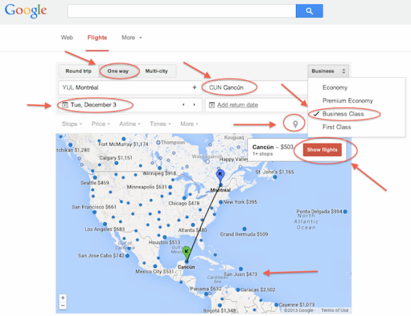 Google flight map business one way
