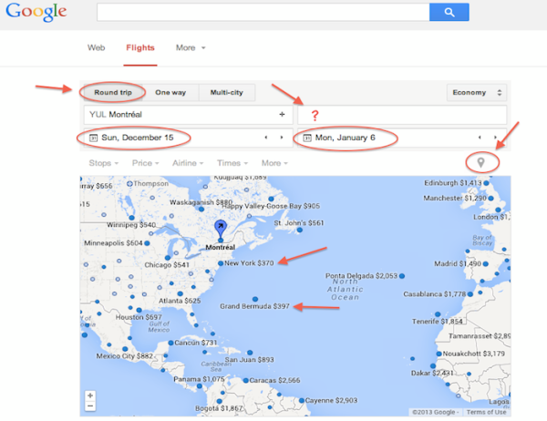 Google Flight round trip map unknow destination