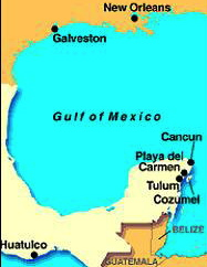 Map of Mexico showing Tulum & Cancun