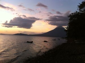 Sunset in Mérida with view on Volcano Concepcion - Ometepe Island, Nicaragua