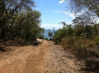 The main road in Mérida, with view on the lake - Ometepe Island, Nicaragua