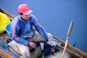 Nicolas & his Cayuco fishing on Lake Atitlán