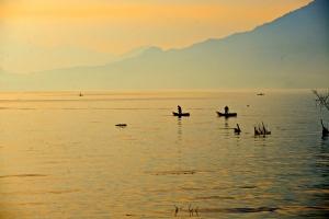Cayucos & sunrise, Lake Atitlán, Guatemala