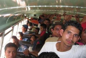 chicken bus in Nicaragua