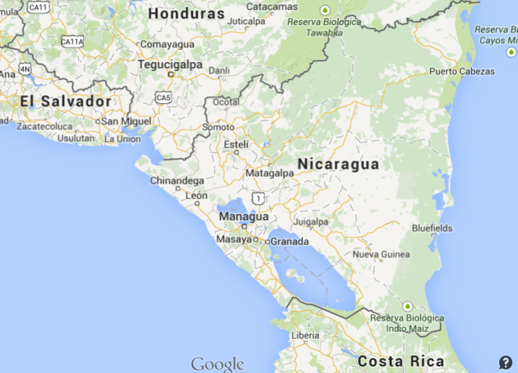 Nicaragua Travel Smart - Country map of nicaragua