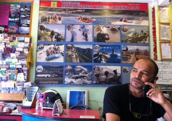 Dil in his office at the travel agency - Kathmandu