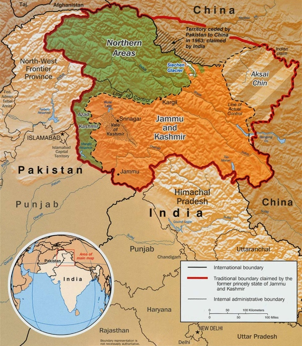 Jammu and Kashmir map published by the CIA in 2003.