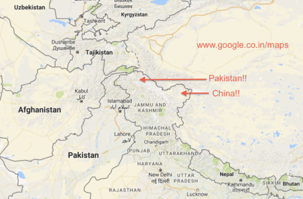 Map of Jammu and Kashmir on Google.co.in