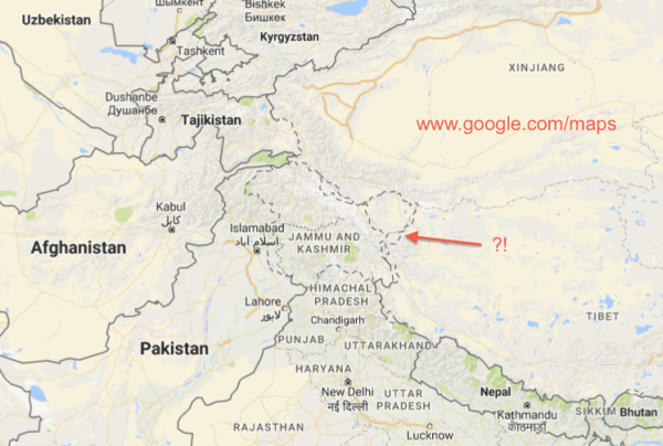 Map of Jammu and Kashmir on Google.com