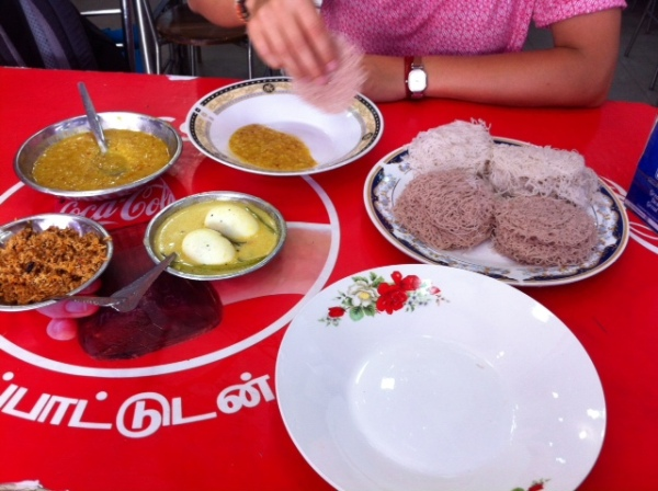 String hoppers, Dhal, Egg curry - Arafa Hotel, Trincomalee