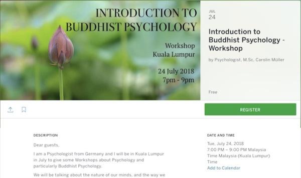 Buddhist Psychology Workshop - Kuala Lumpur July 2018
